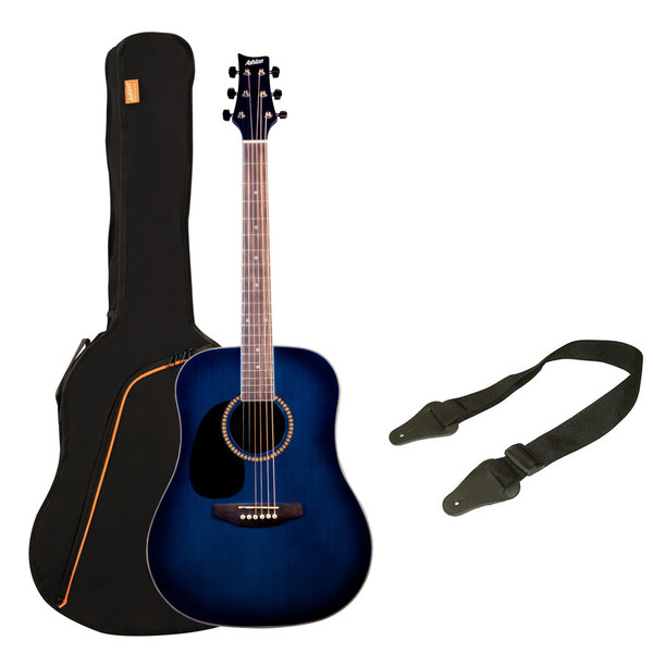 DISC Ashton SPD25L Left Handed Acoustic Guitar Pack, Trans Blue ...